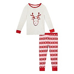 bluezoo - Girls' red reindeer print pyjama top and bottoms set
