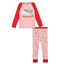 bluezoo - Girls' pink and red pug print pyjama set