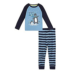 bluezoo - Boys' navy 'Stay cool' slogan print pyjama top and bottoms set