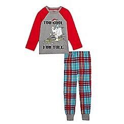bluezoo - Boys' red 'Too cool for yule' slogan print pyjama set