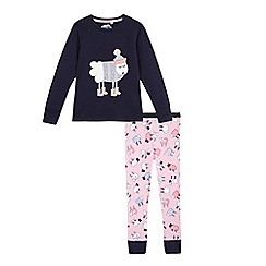 bluezoo - Girls' navy sheep applique pyjama set