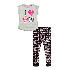 bluezoo - Girls' grey 'I love fri day' print pyjama top and black bottoms set