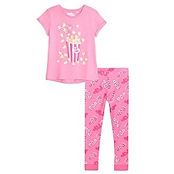 bluezoo - Girls' pink popcorn print pyjama set