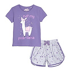 bluezoo - Girls' lilac llama pyjama t-shirt and grey star print shorts set