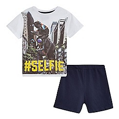 bluezoo - Boys' white dinosaur 'Selfie' print pyjama t-shirt and navy shorts set