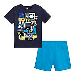bluezoo - Boys' navy gaming print pyjama t-shirt and light blue shorts set