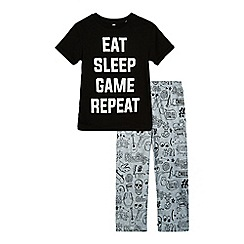 bluezoo - Boys' black and grey 'Eat sleep game repeat' print top and bottoms set