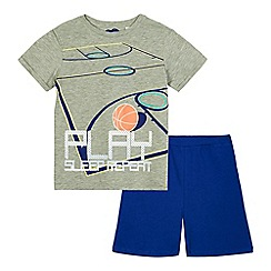 bluezoo - Boys' grey and navy basketball print pyjama top and shorts set