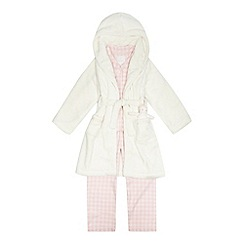 J by Jasper Conran - Girls' pink checked pyjama set with a dressing gown and toy