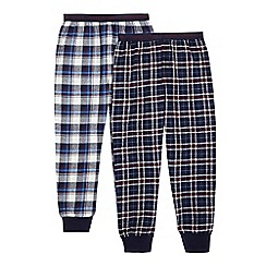 J by Jasper Conran - Boys' navy checked print pyjama bottoms