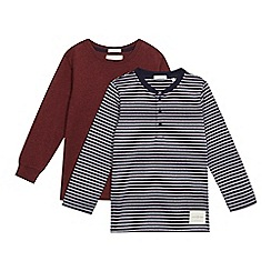 J by Jasper Conran - Pack of two boys' navy stripe and burgundy long sleeve t-shirts
