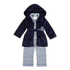 J by Jasper Conran - Boys' blue checked pyjama set with a dressing gown