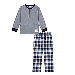 J by Jasper Conran - Boys' navy striped and checked print pyjama set
