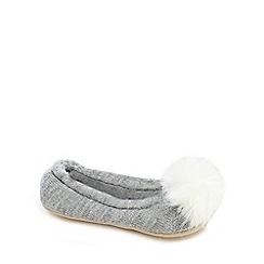 J by Jasper Conran - Girls' grey pom pom slippersá