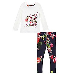 Baker by Ted Baker - Girls' white logo top and navy floral print leggings set