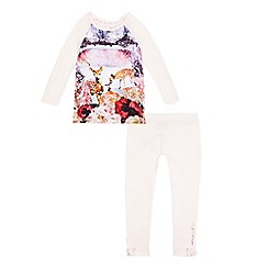 Baker by Ted Baker - Girls' light pink floral deer print pyjama set