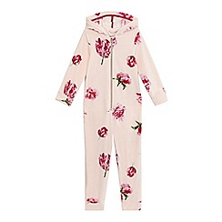Baker by Ted Baker - Girls' light pink floral print hooded all-in-one