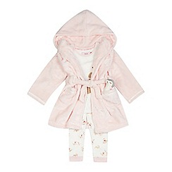 Baker by Ted Baker - Girls' pink three piece dressing gown and pyjama set with toy