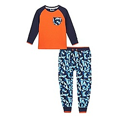 Baker by Ted Baker - Boys' orange and navy geometric print pyjama set