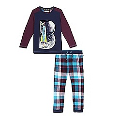 Baker by Ted Baker - Boys' dark red glow in the dark graphic print top and checked pyjama set