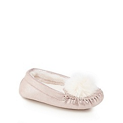 Baker by Ted Baker - Girls' light pink pom-pom moccasin slippers