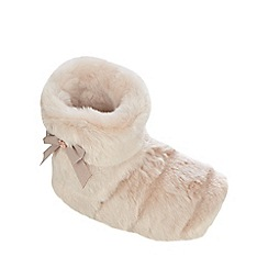 Baker by Ted Baker - Girls' light pink fluffy bow bootie slippers