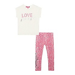 Pineapple - Girls' pink 'Love' print pyjama set