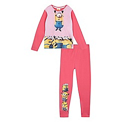 Despicable Me - Girls' pink minion print pyjama set