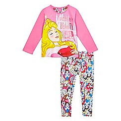 Disney Princess - Girls' pink 'Sleeping Beauty' pyjama top and 'Disney Princess' print bottoms set