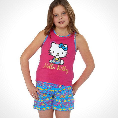 Hello Kitty - Girl's pink 'Hello Kitty' shortie pyjamas
