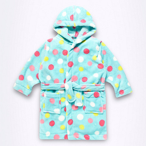 bluezoo - Girl+s blue spotty fleece bathdressing gown
