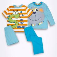 Pack of two boys' blue monkey and snake pyjama sets