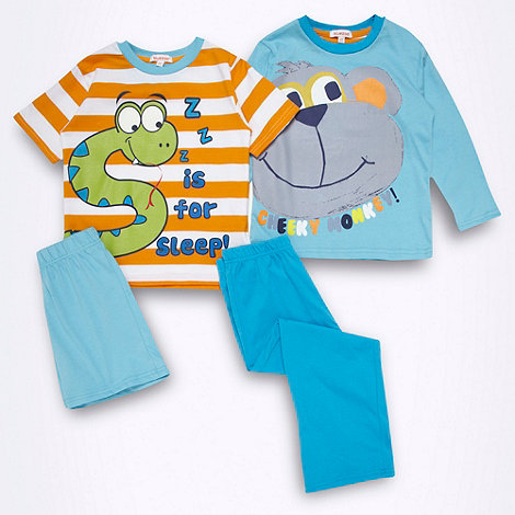 bluezoo - Pack of two boys' blue monkey and snake pyjama sets