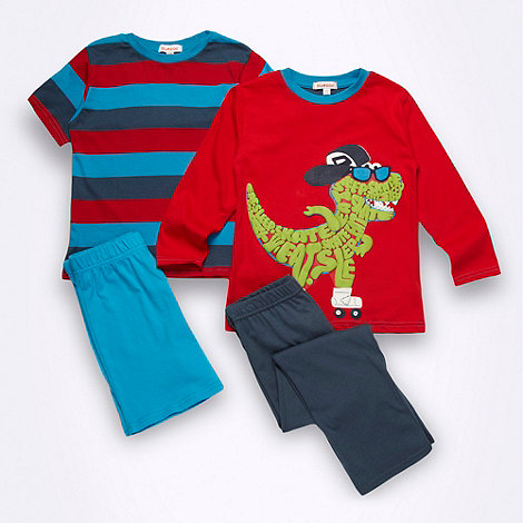 bluezoo - Boy+s red dinosaur pyjama set