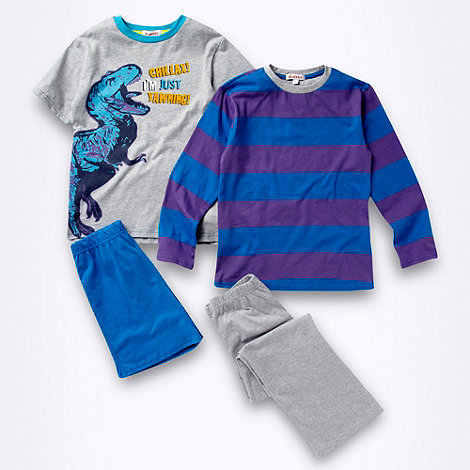 bluezoo - Pack of two boys+ purple dinosaur printed pyjama sets