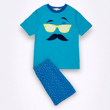 bluezoo - Boy+s blue moustache shortie pyjamas
