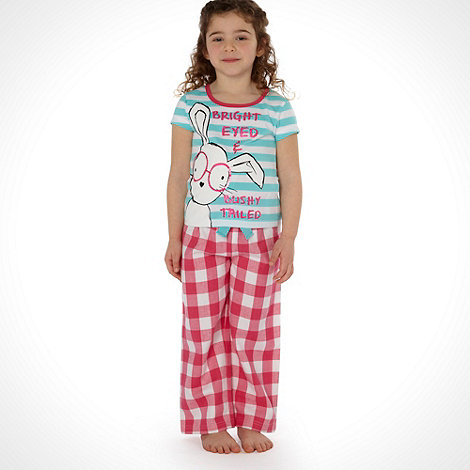 bluezoo - Girl+s pink woven rabbit pyjamas
