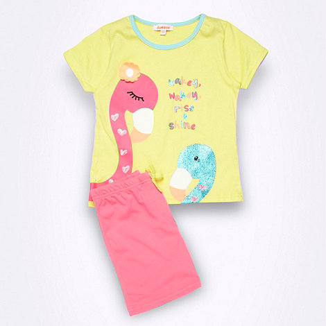 bluezoo - Girl+s yellow flamingo printed shortie pyjamas