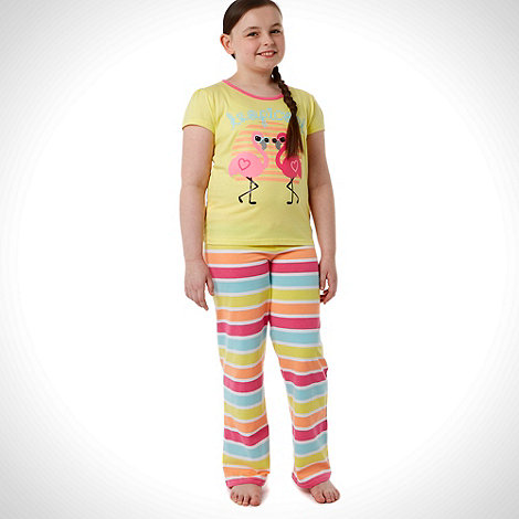 bluezoo - Girl+s pack of two yellow flamingo printed pyjamas