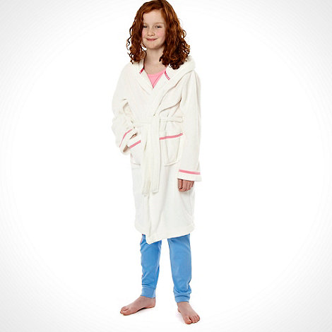 Pineapple - Girl+s white pink trimmed dressing gown