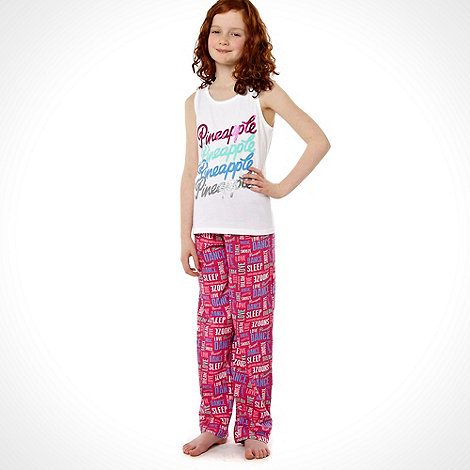 Pineapple - Girl+s pink repeat slogan printed pyjama set