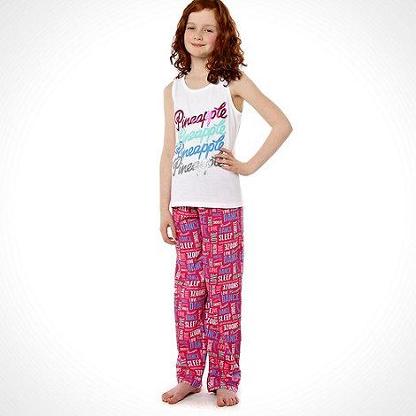 Pineapple - Girl+s pink repeat slogan printed pyjama set