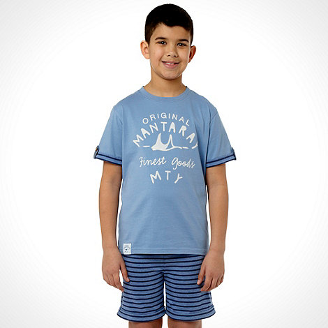 Mantaray - Boy+s blue logo t-shirt and shorts pyjama set
