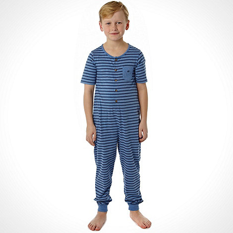 Mantaray - Boy+s blue striped onesie  suit