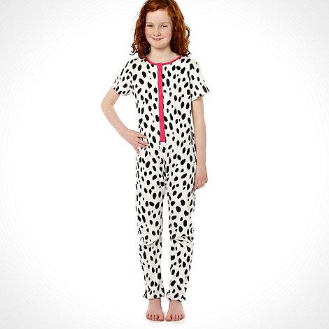 bluezoo - Girl+s white dalmatian printed onesie