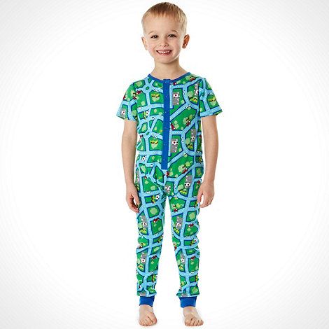 bluezoo - Boy+s green jersey onesie