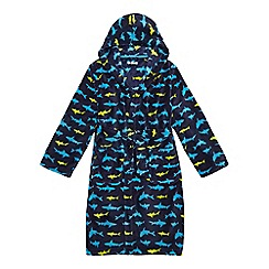 bluezoo - Boys' blue multi-coloured shark print dressing gown
