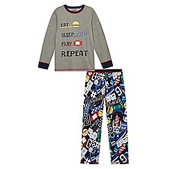 bluezoo - Boys' multi-coloured 'Eat, sleep, play, repeat' pyjama top and bottoms set