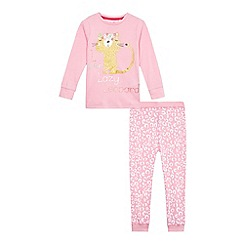 bluezoo - Girls' pink 'lazy leopard' print pyjama top and bottoms set