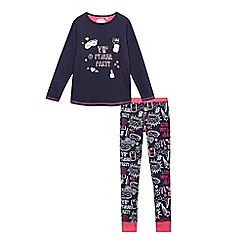 bluezoo - Girls' navy 'VIP pyjama party' print top and bottoms pyjama set